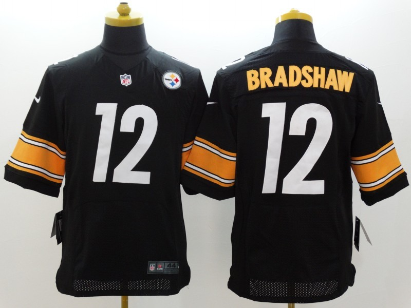 Pittsburgh Steelers 12 Bradshaw Black Nike Elite Jerseys