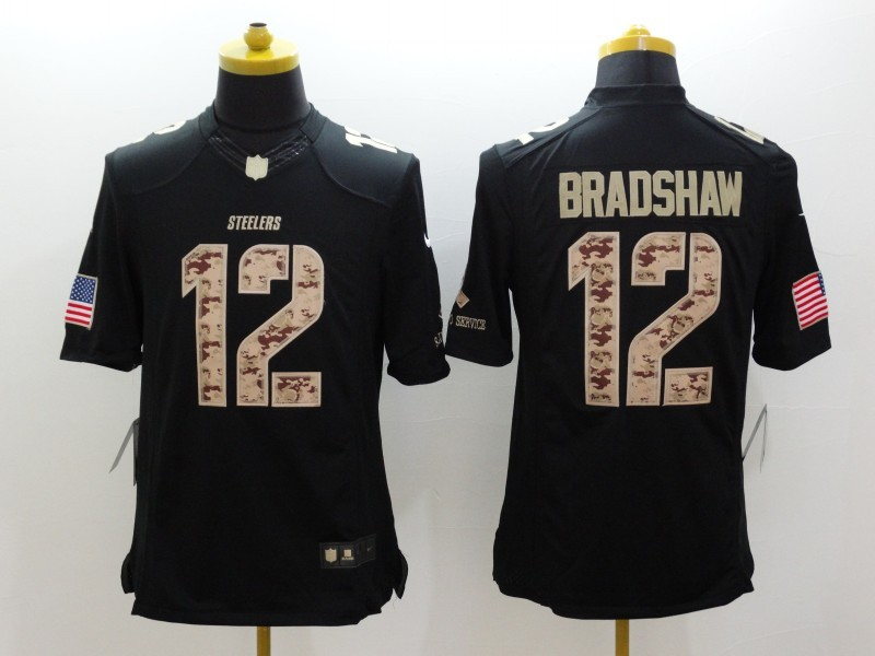 Pittsburgh Steelers 12 Bradshaw Black Nike Salute TO Service Jerseys