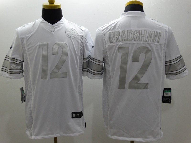 Pittsburgh Steelers 12 Bradshaw Platinum White Nike Limited Jerseys