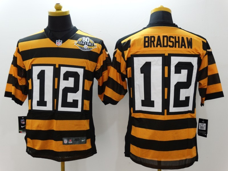 Pittsburgh Steelers 12 Bradshaw Yellow 80TH Throwback Jerseys
