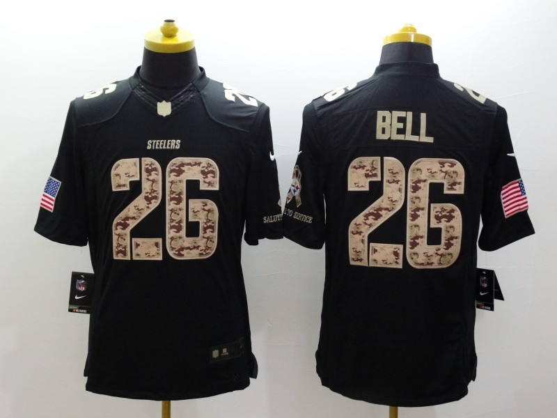 Pittsburgh Steelers 26 Bell Black Nike Salute TO Service Jerseys