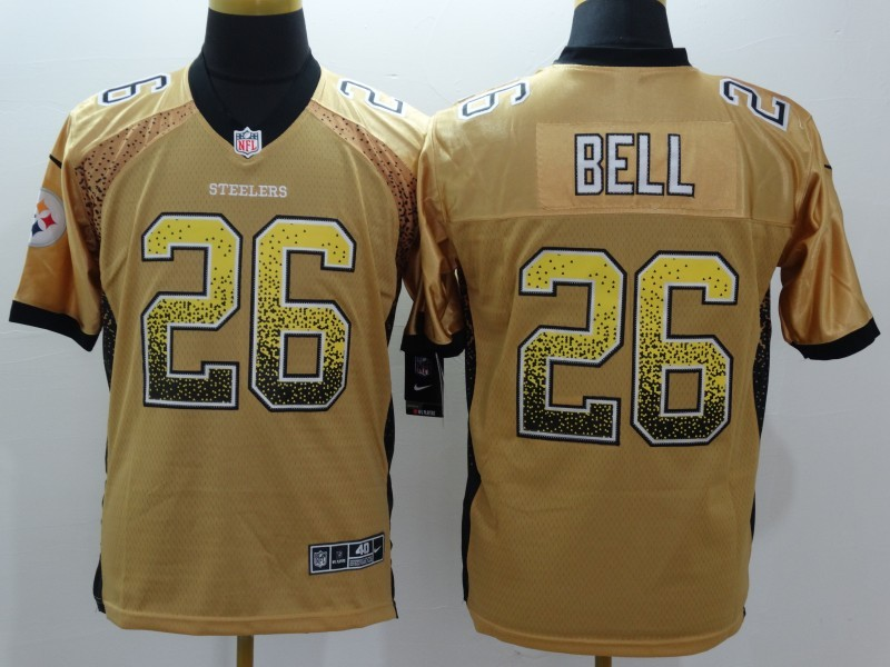 Pittsburgh Steelers 26 Bell Drift Fashion Gold Nike Elite Jerseys