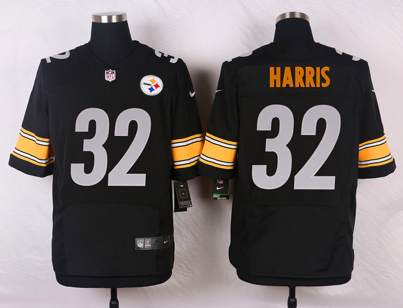 NFL Customize Pittsburgh Steelers 32 Harris Black Men Nike Elite Jerseys