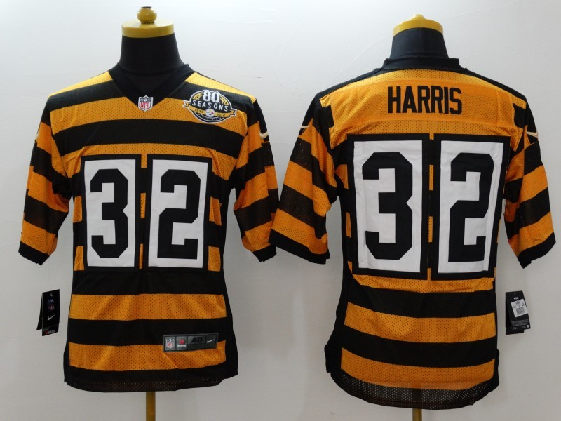 Pittsburgh Steelers 32 Harris Yellow 80TH Throwback Jerseys