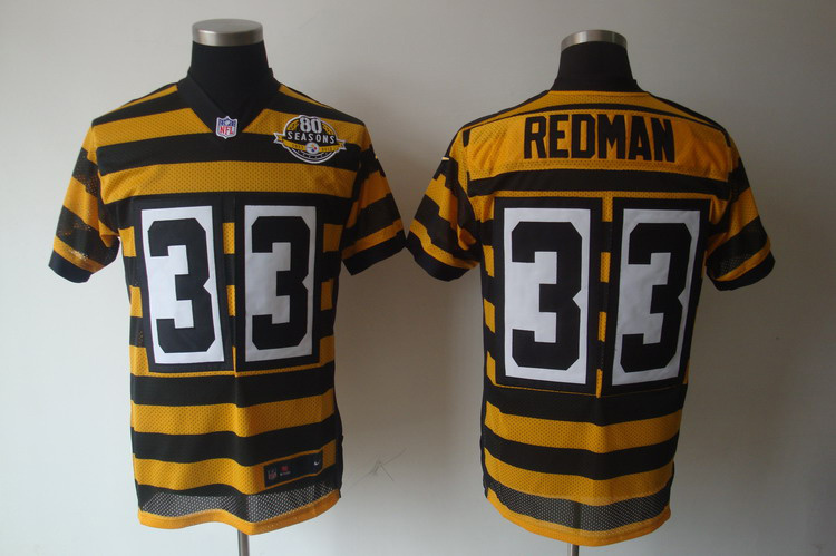 Pittsburgh Steelers 33 Redman Yellow 80TH Throwback Jerseys.