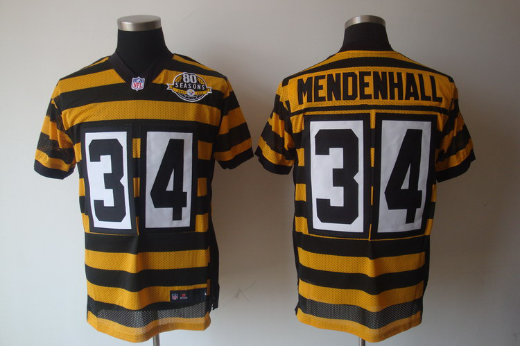 Pittsburgh Steelers 34 Mendenhall Yellow 80TH Throwback Jerseys