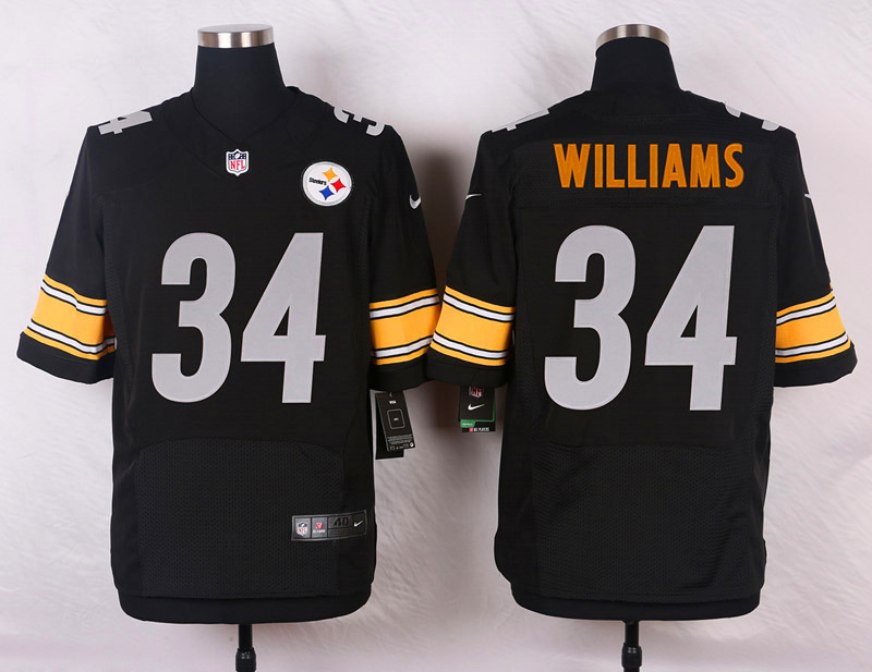 NFL Customize Pittsburgh Steelers 34 Williams Black Men Nike Elite Jerseys