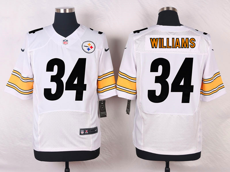 NFL Customize Pittsburgh Steelers 34 Williams White Men Nike Elite Jerseys