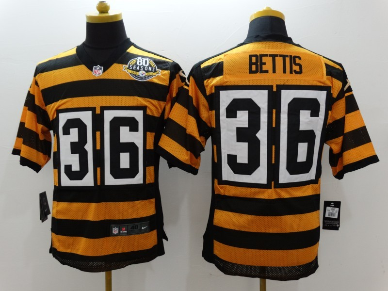 Pittsburgh Steelers 36 Bettis Yellow 80TH Throwback Jerseys.