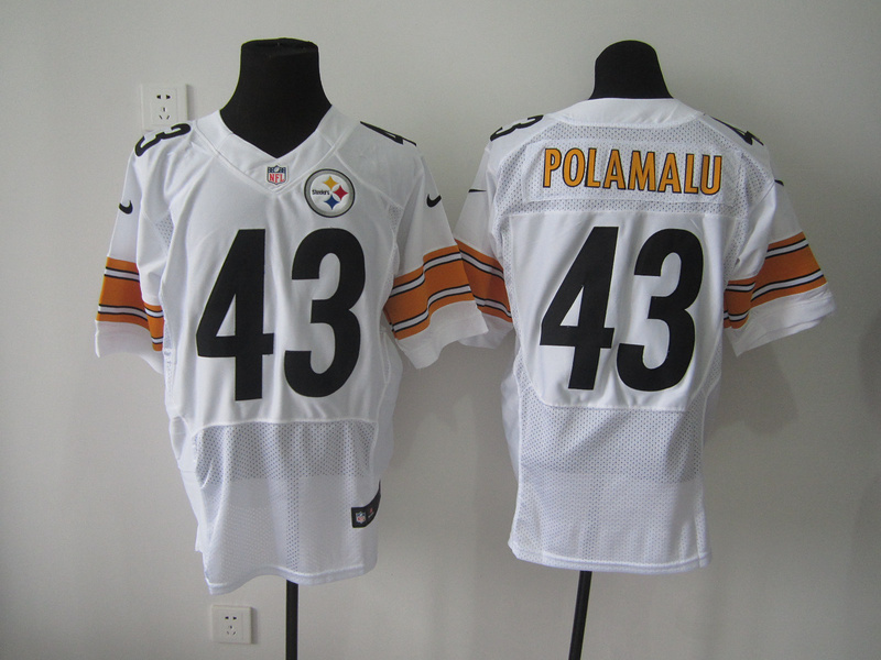 Pittsburgh Steelers 43 Polamalu White Nike Elite Jersey