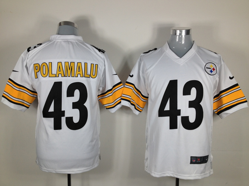 Pittsburgh Steelers 43 Polamalu White Nike Game Jersey