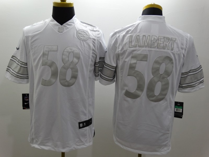 Pittsburgh Steelers 58 Lambert Platinum White Nike Limited Jerseys