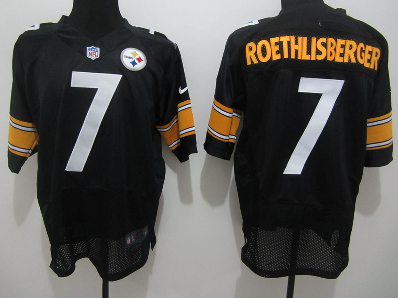 Pittsburgh Steelers 7 Roethlisberger Black Nike Elite Jersey