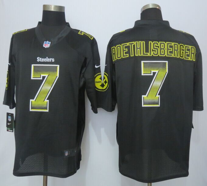 Pittsburgh Steelers 7 Roethlisberger Black Strobe 2015 New Nike Limited Jersey
