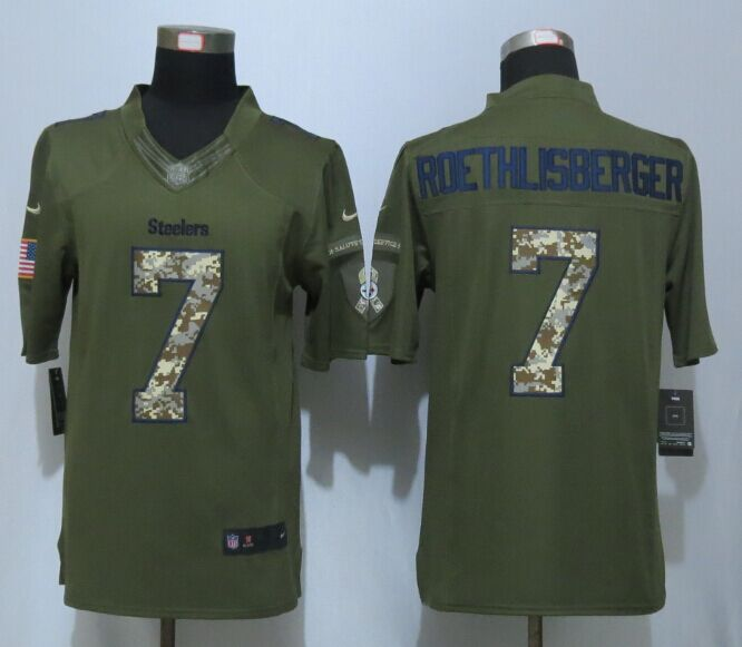 Pittsburgh Steelers 7 Roethlisberger Green New Nike Salute To Service Limited Jersey