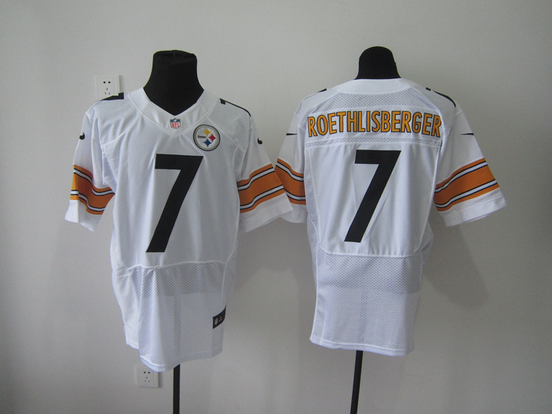 Pittsburgh Steelers 7 Roethlisberger White Nike Elite Jersey