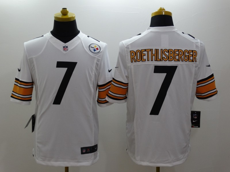 Pittsburgh Steelers 7 Roethlisberger White Nike Limited Jerseys