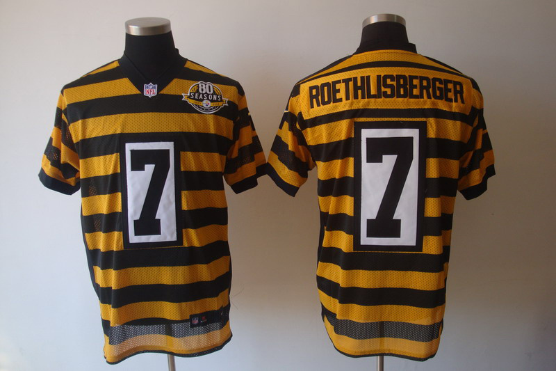 Pittsburgh Steelers 7 Roethlisberger Yellow 80TH Throwback Jerseys