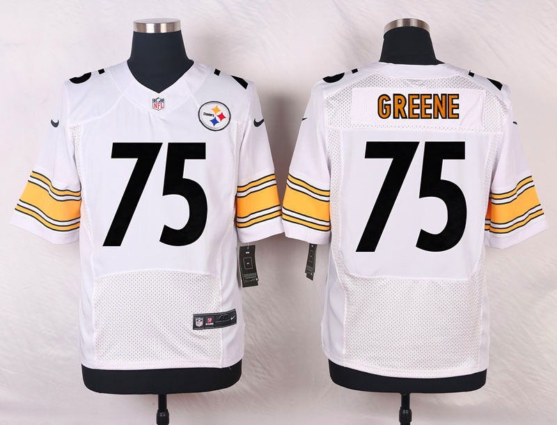 NFL Customize Pittsburgh Steelers 75 Greene White Men Nike Elite Jerseys