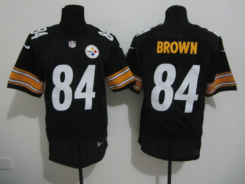 Pittsburgh Steelers 84 Brown Black Nike Elite Jersey