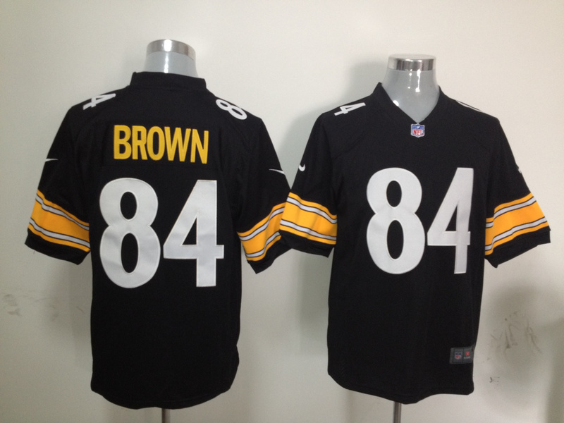 Pittsburgh Steelers 84 Brown Black Nike Game Jersey