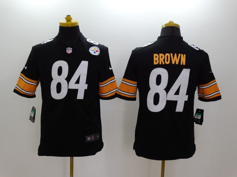 Pittsburgh Steelers 84 Brown Black Nike Limited Jerseys
