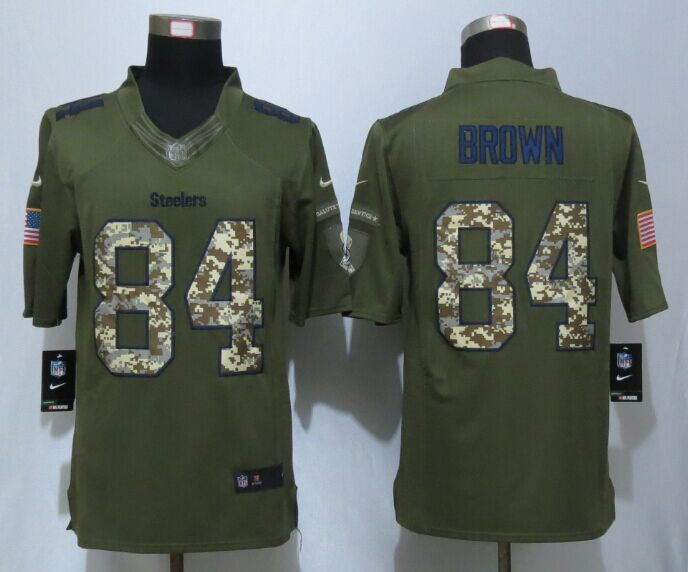 Pittsburgh Steelers 84 Brown Green New Nike Salute To Service Limited Jersey