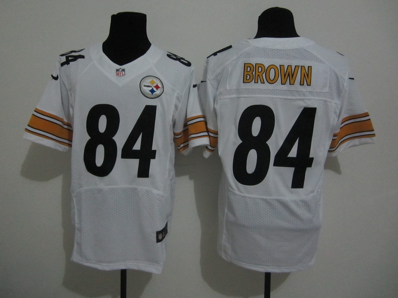 Pittsburgh Steelers 84 Brown White Nike Elite Jersey