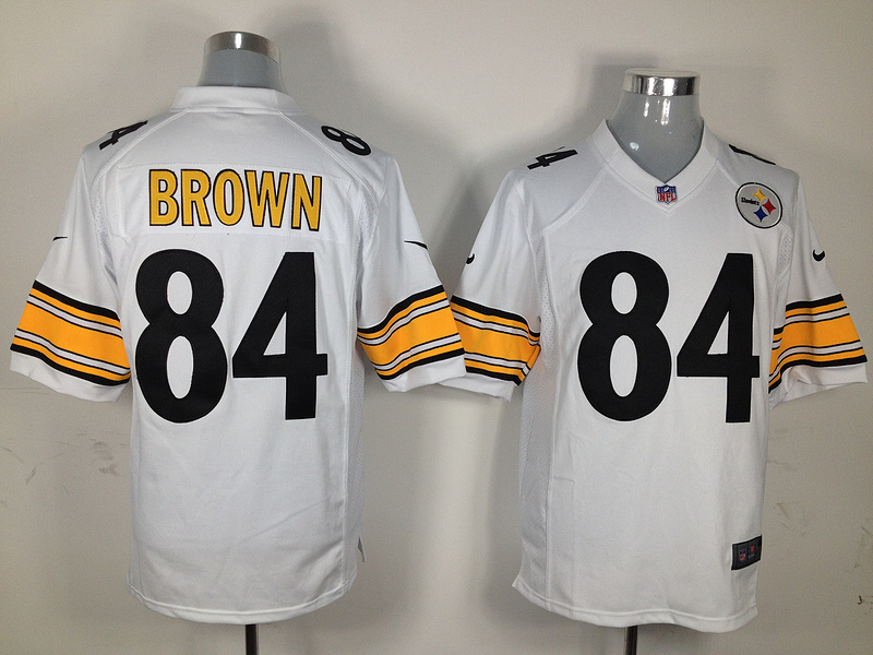 Pittsburgh Steelers 84 Brown White Nike Game Jersey