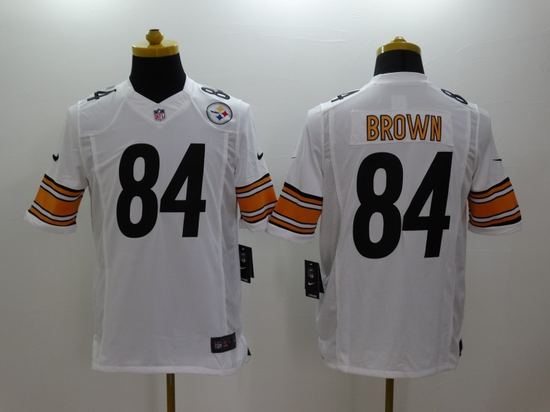 Pittsburgh Steelers 84 Brown White Nike Limited Jerseys