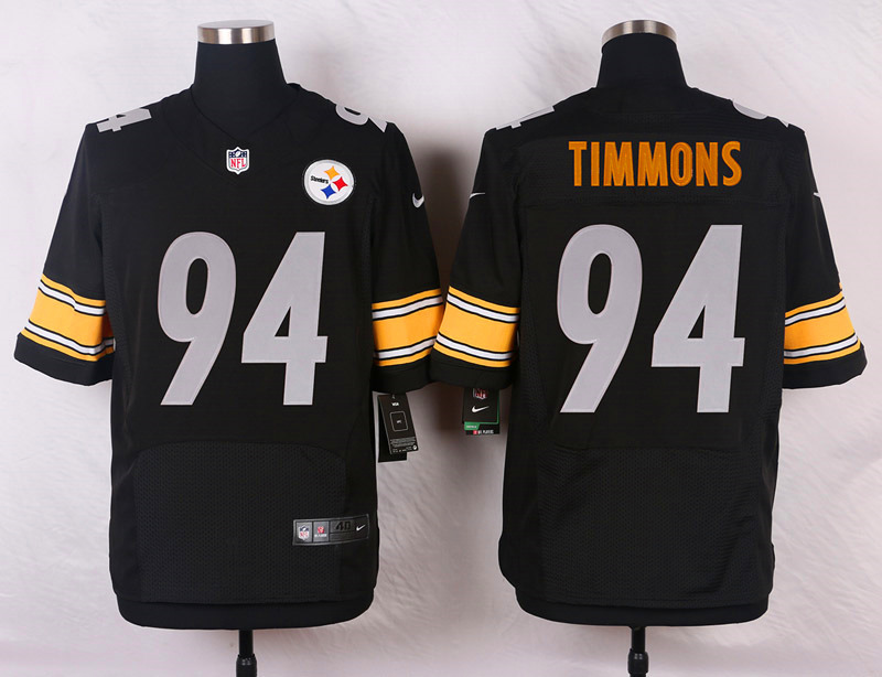 NFL Customize Pittsburgh Steelers 94 Timmons Black Men Nike Elite Jerseys