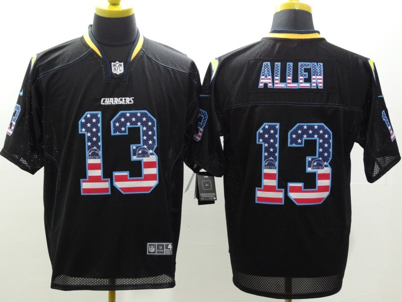 Los Angeles Chargers 13 Allen USA Flag Fashion Black Nike Elite Jerseys.