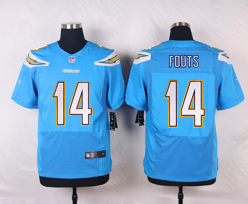 NFL Customize San Diego Chargers 14 Fouts Light Blue Men Nike Elite Jerseys