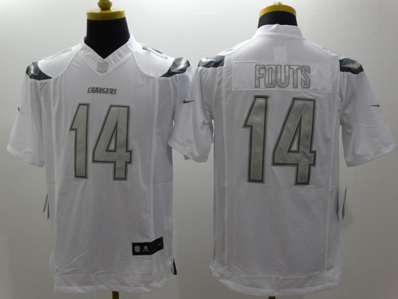 San Diego Chargers 14 Fouts Platinum White Nike Limited Jerseys