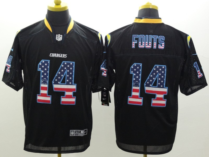 San Diego Chargers 14 Fouts USA Flag Fashion Black Nike Elite Jerseys.