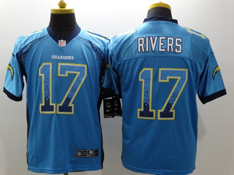 Los Angeles Chargers 17 Philip Rivers Blue Drift Fashion Nike Elite Jerseys