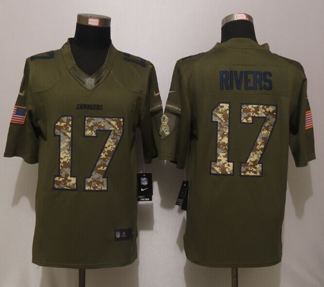 Los Angeles Chargers 17 Rivers Green Salute To Service New Nike Limited Jersey.