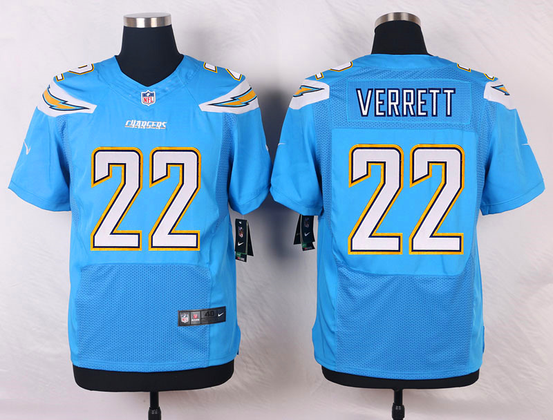 NFL Customize Los Angeles Chargers 22 Verrett Light Blue Men Nike Elite Jerseys