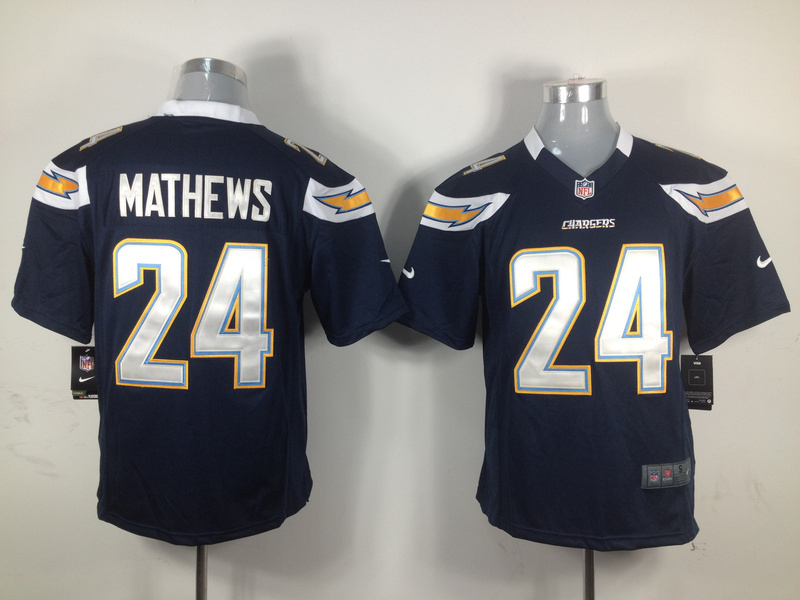 San Diego Chargers 24 Mathews Blue Nike Game jerseys