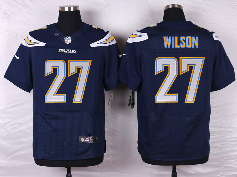 NFL Customize San Diego Chargers 27 Wilson Blue Men Nike Elite Jerseys