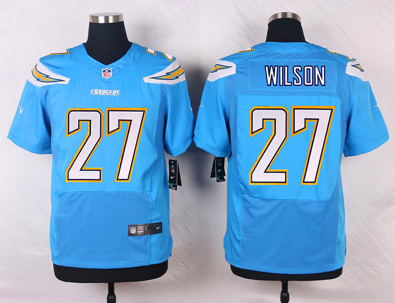 NFL Customize San Diego Chargers 27 Wilson Light Blue Men Nike Elite Jerseys