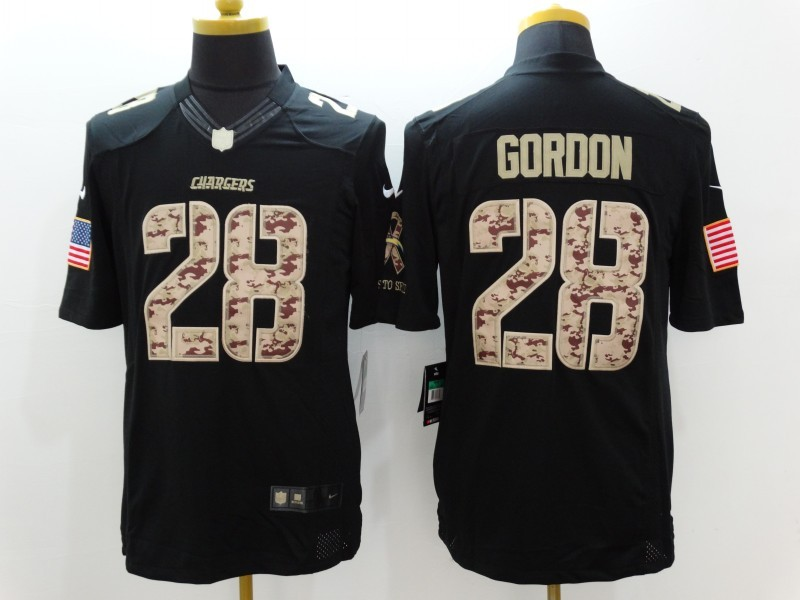 Los Angeles Chargers 28 Gordon Black Nike Salute TO Service Jerseys
