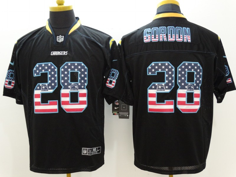 San Diego Chargers 28 Gordon USA Flag Fashion Black Nike Elite Jerseys