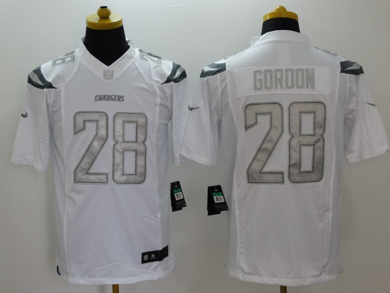 Los Angeles Chargers 28 Goroon White Nike Platinum Jerseys