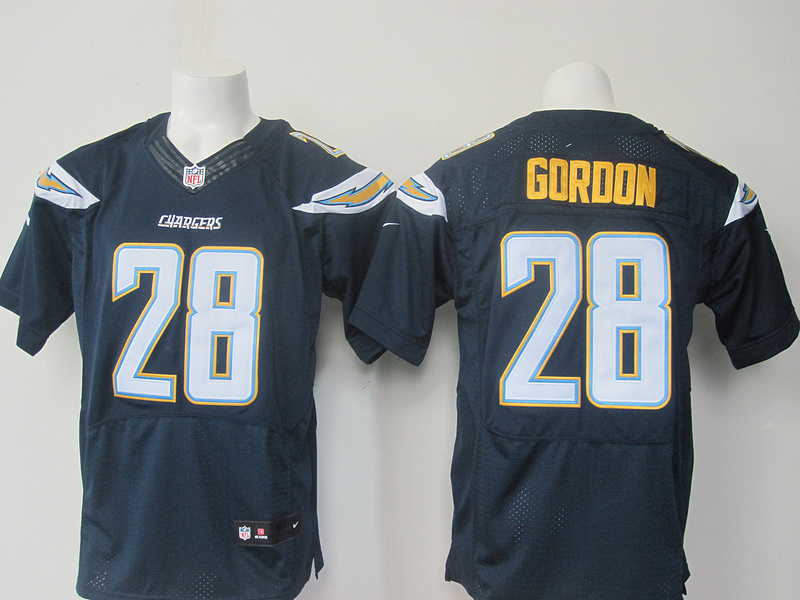 Los Angeles Chargers 28 Goroon dark Blue Elite Nike Jerseys