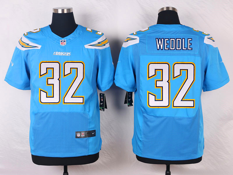 NFL Customize San Diego Chargers 32 Eric Weddle Light Blue 2015 New Nike Elite Jerseys