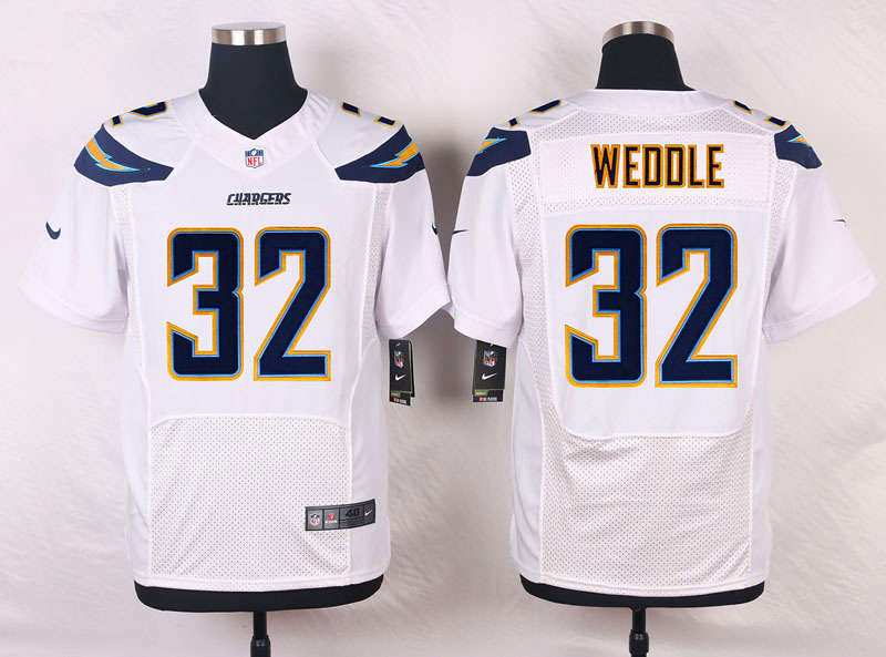 NFL Customize San Diego Chargers 32 Eric Weddle White 2015 New Nike Elite Jerseys