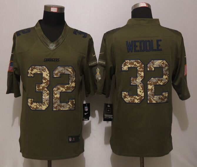 San Diego Chargers 32 Weddle Green Salute To Service New Nike Limited Jersey