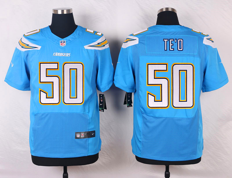 NFL Customize San Diego Chargers 50 Manti Te'o Light Blue 2015 New Nike Elite Jerseys
