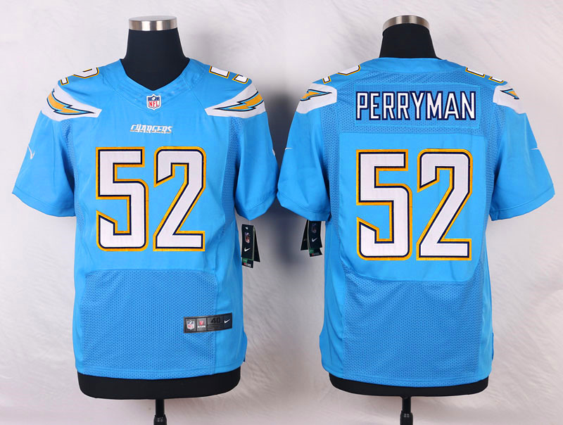 NFL Customize Los Angeles Chargers 52 Perryman Light Blue Men Nike Elite Jerseys